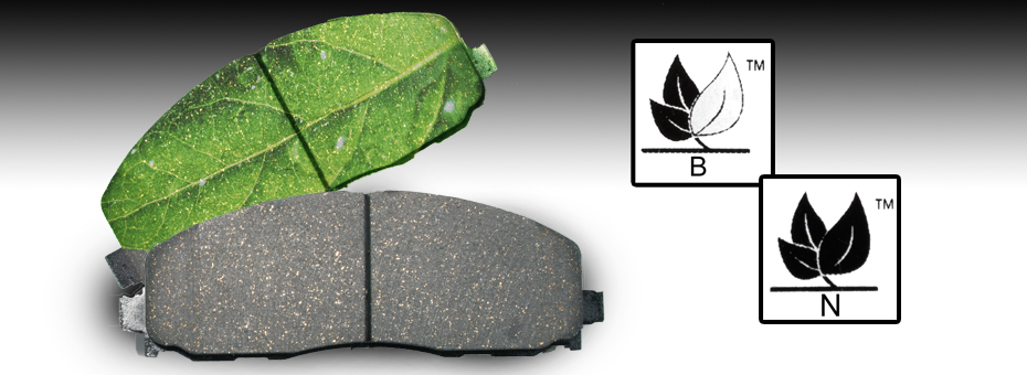 Brake pad with green leaf